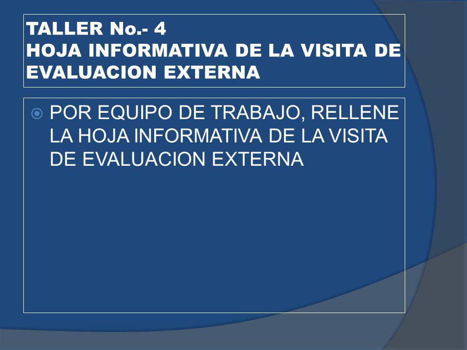 TALLER No.- 4 HOJA INFORMATIVA DE LA VISITA DE EVALUACION EXTERNA
