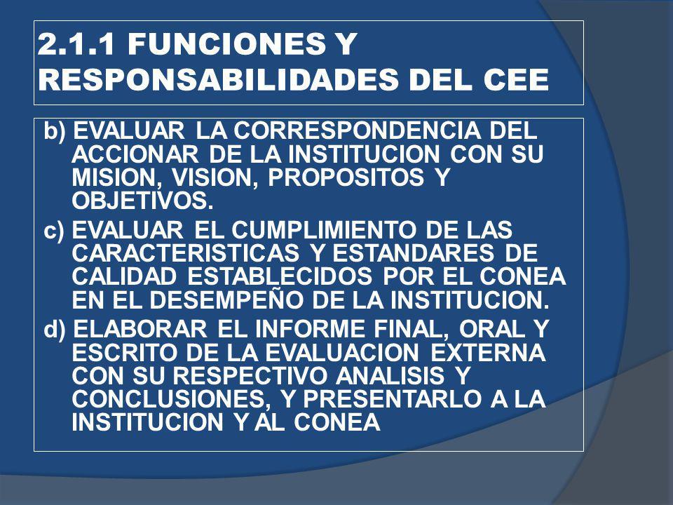 2.1.1 FUNCIONES Y RESPONSABILIDADES DEL CEE