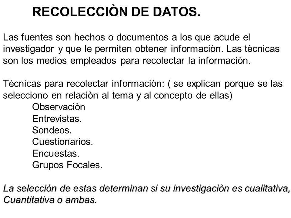 RECOLECCIÒN DE DATOS. Las fuentes son hechos o documentos a los que acude el. investigador y que le permiten obtener informaciòn. Las tècnicas.