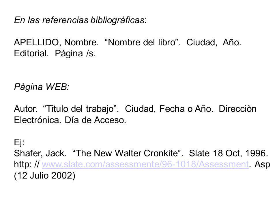 En las referencias bibliográficas: