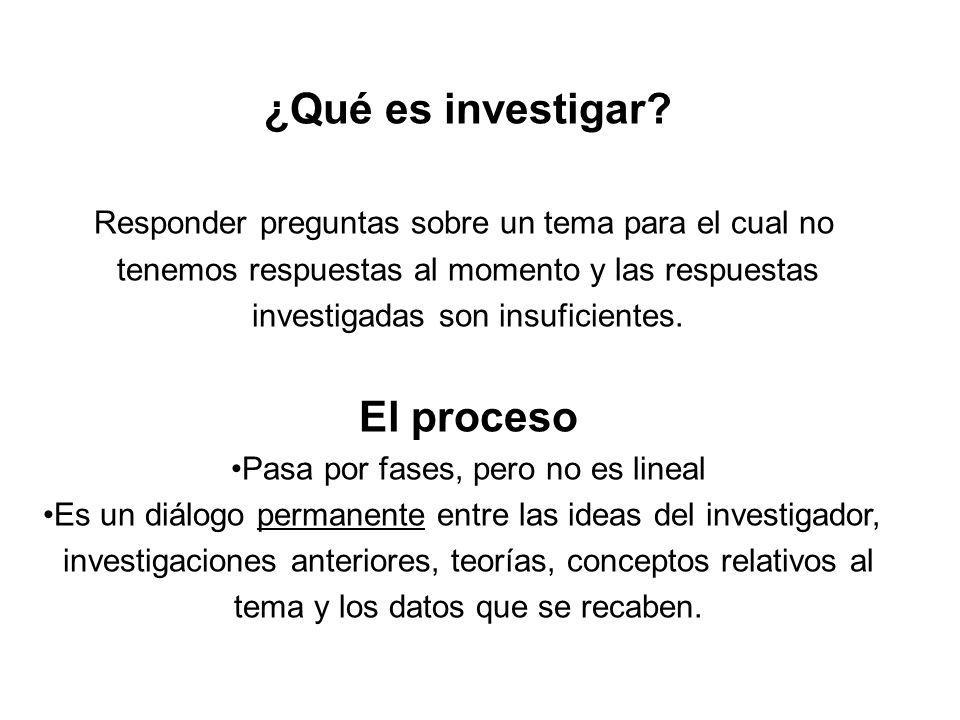 ¿Qué es investigar El proceso