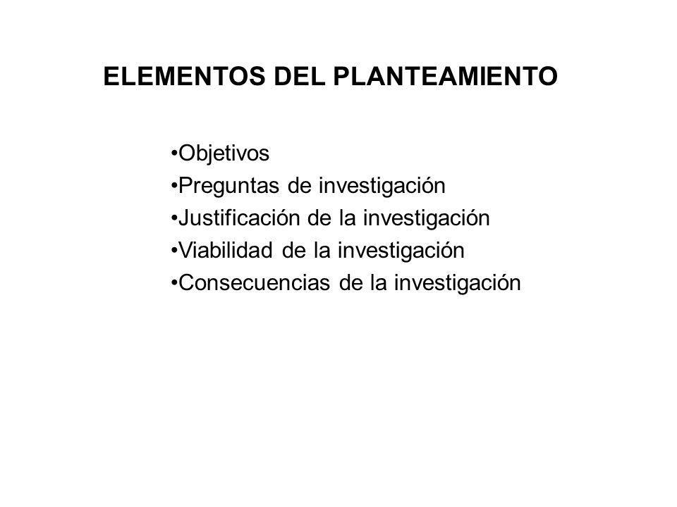 ELEMENTOS DEL PLANTEAMIENTO