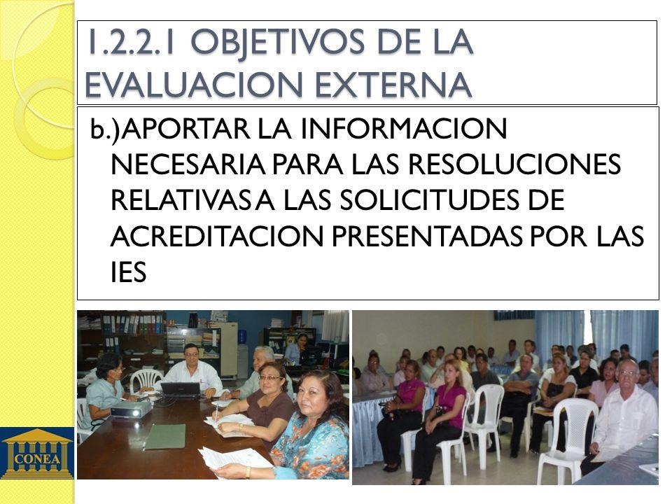 1.2.2.1 OBJETIVOS DE LA EVALUACION EXTERNA