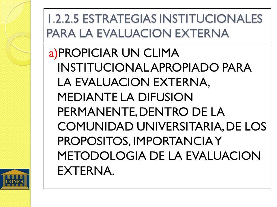 1.2.2.5 ESTRATEGIAS INSTITUCIONALES PARA LA EVALUACION EXTERNA