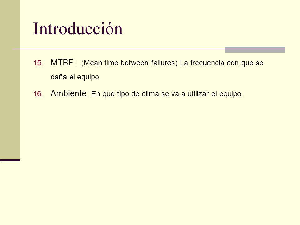 Introducción MTBF : (Mean time between failures) La frecuencia con que se daña el equipo.