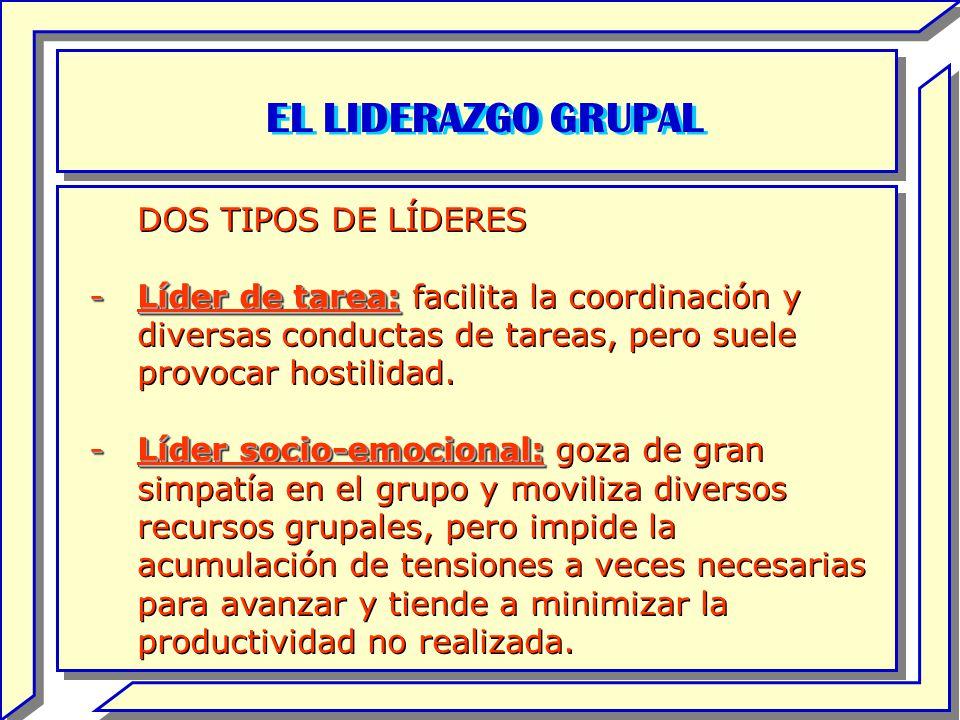 EL LIDERAZGO GRUPAL DOS TIPOS DE LÍDERES