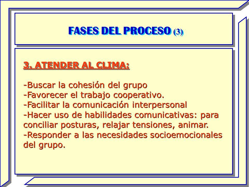 FASES DEL PROCESO (3) 3. ATENDER AL CLIMA:
