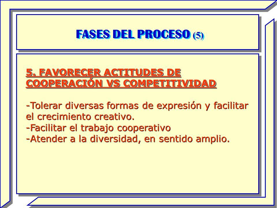FASES DEL PROCESO (5) 5. FAVORECER ACTITUDES DE COOPERACIÓN VS COMPETITIVIDAD.