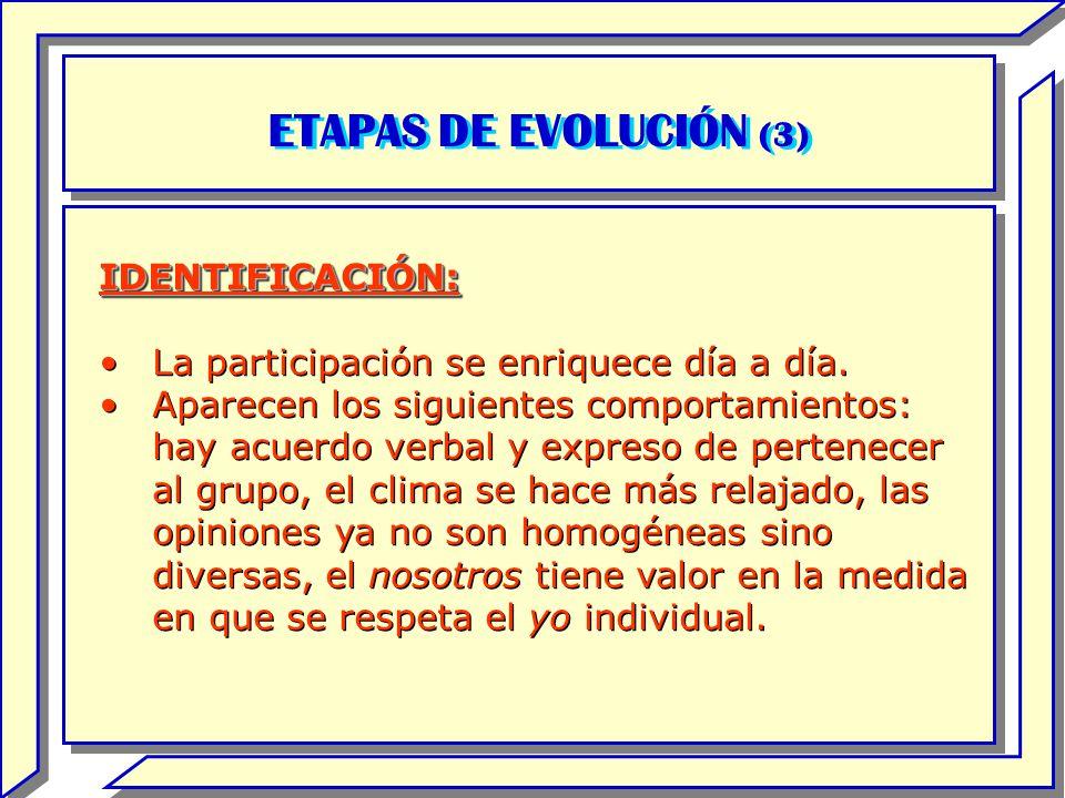 ETAPAS DE EVOLUCIÓN (3) IDENTIFICACIÓN: