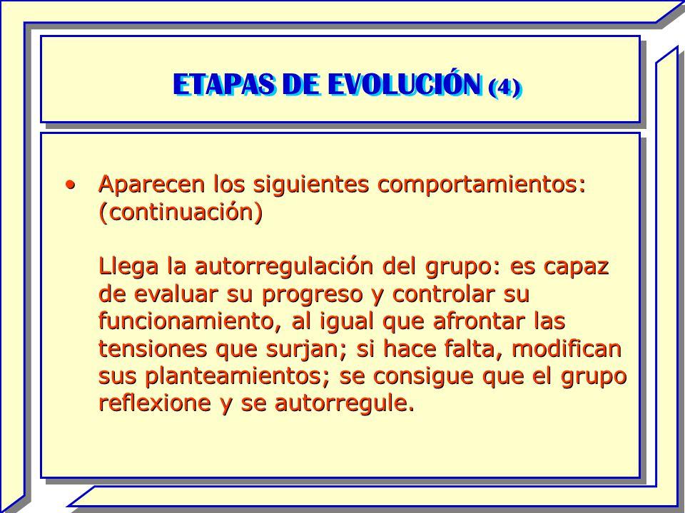 ETAPAS DE EVOLUCIÓN (4) Aparecen los siguientes comportamientos: (continuación)