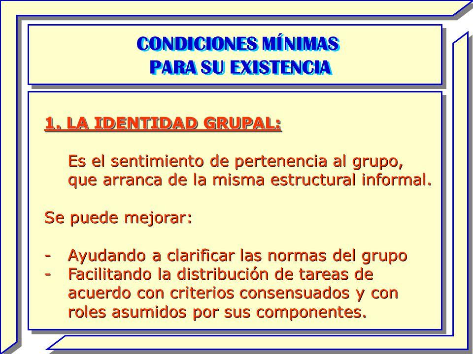 CONDICIONES MÍNIMAS PARA SU EXISTENCIA