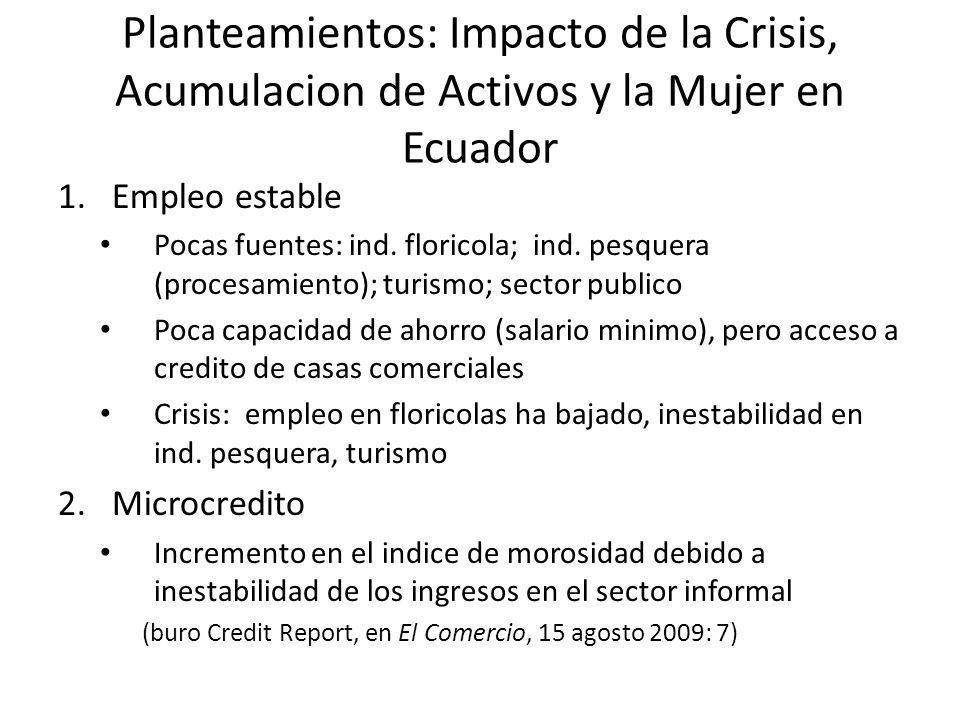 Planteamientos: Impacto de la Crisis, Acumulacion de Activos y la Mujer en Ecuador
