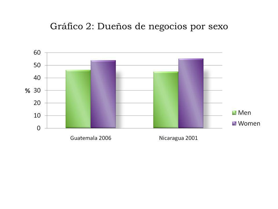 Gráfico 2: Dueños de negocios por sexo