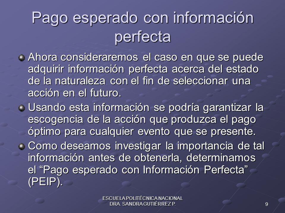 Pago esperado con información perfecta