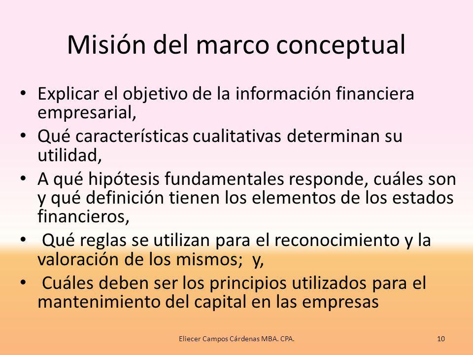 Misión del marco conceptual