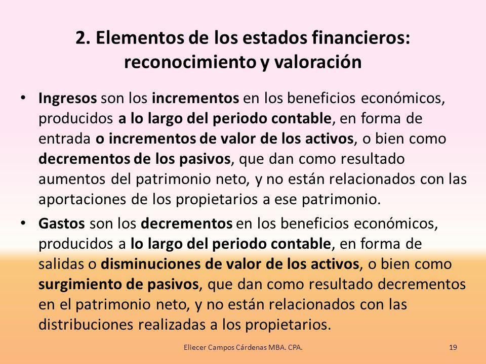 2. Elementos de los estados financieros: reconocimiento y valoración