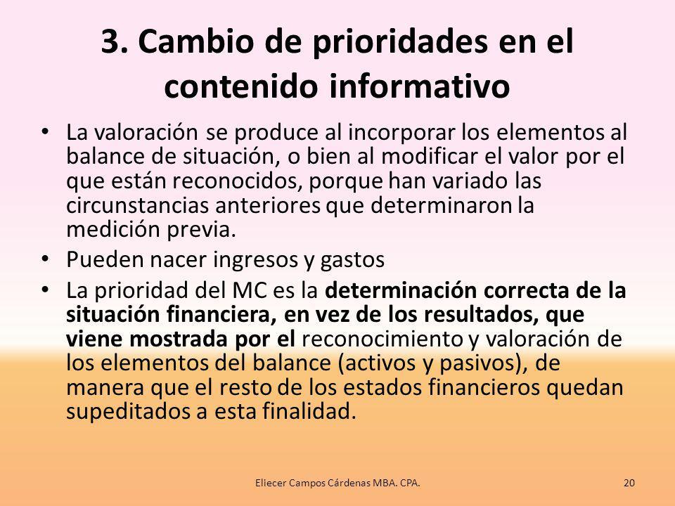 3. Cambio de prioridades en el contenido informativo