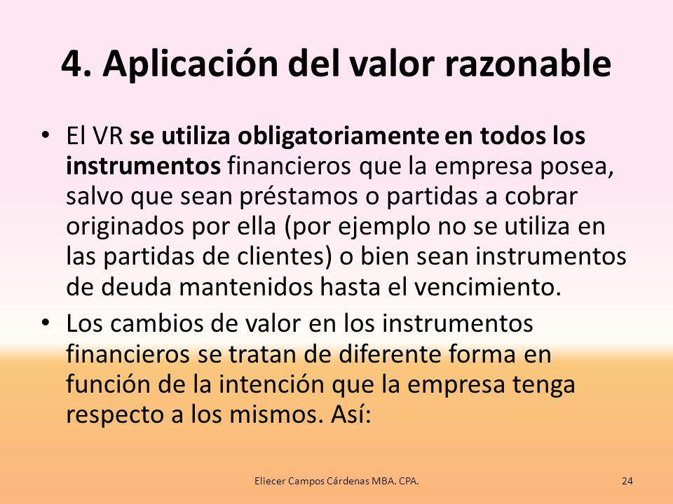 4. Aplicación del valor razonable