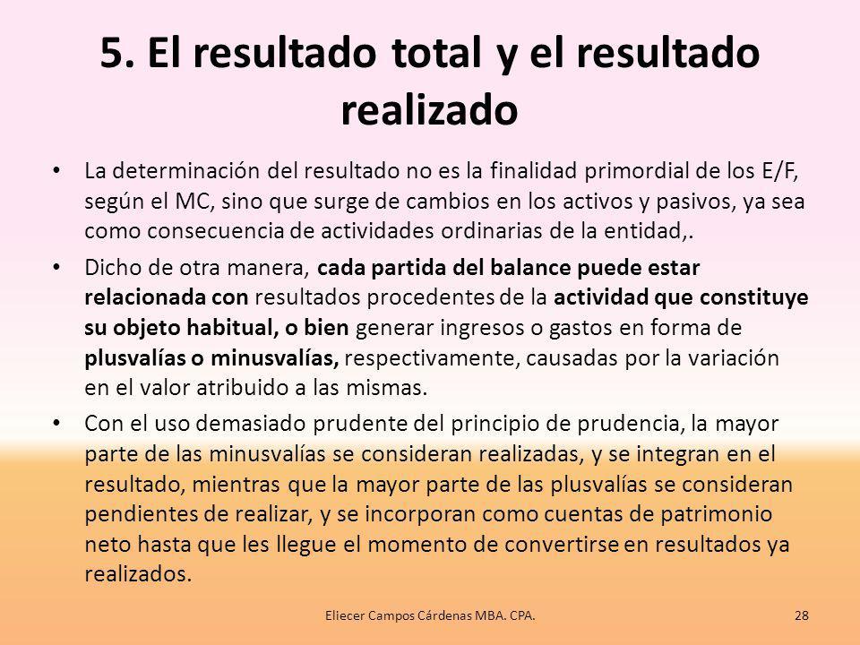 5. El resultado total y el resultado realizado
