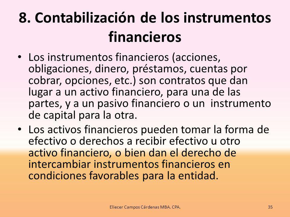 8. Contabilización de los instrumentos financieros