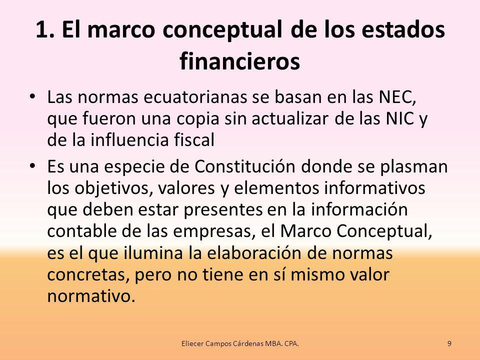 1. El marco conceptual de los estados financieros