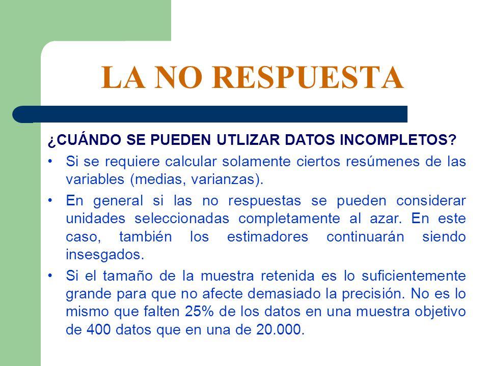 LA NO RESPUESTA ¿CUÁNDO SE PUEDEN UTLIZAR DATOS INCOMPLETOS