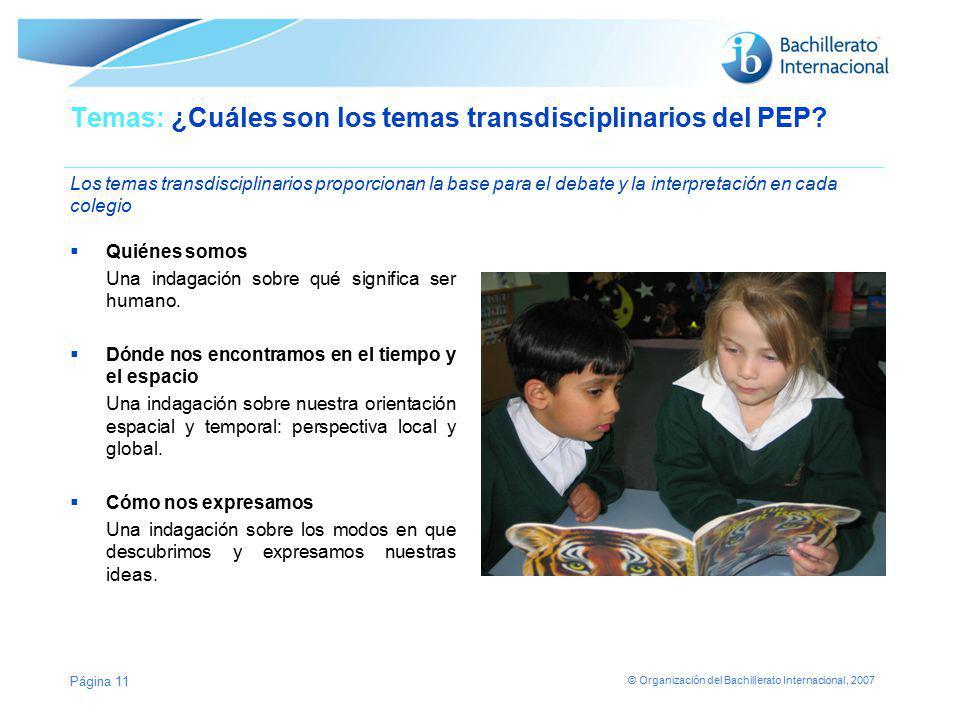 Temas: ¿Cuáles son los temas transdisciplinarios del PEP