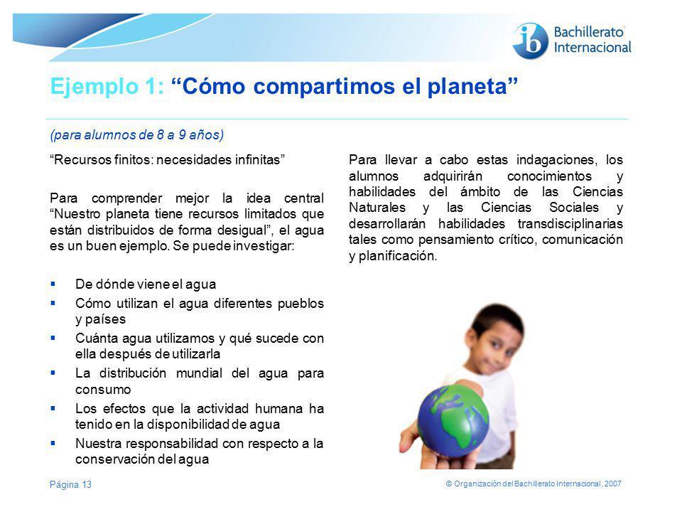 Ejemplo 1: Cómo compartimos el planeta (para alumnos de 8 a 9 años)