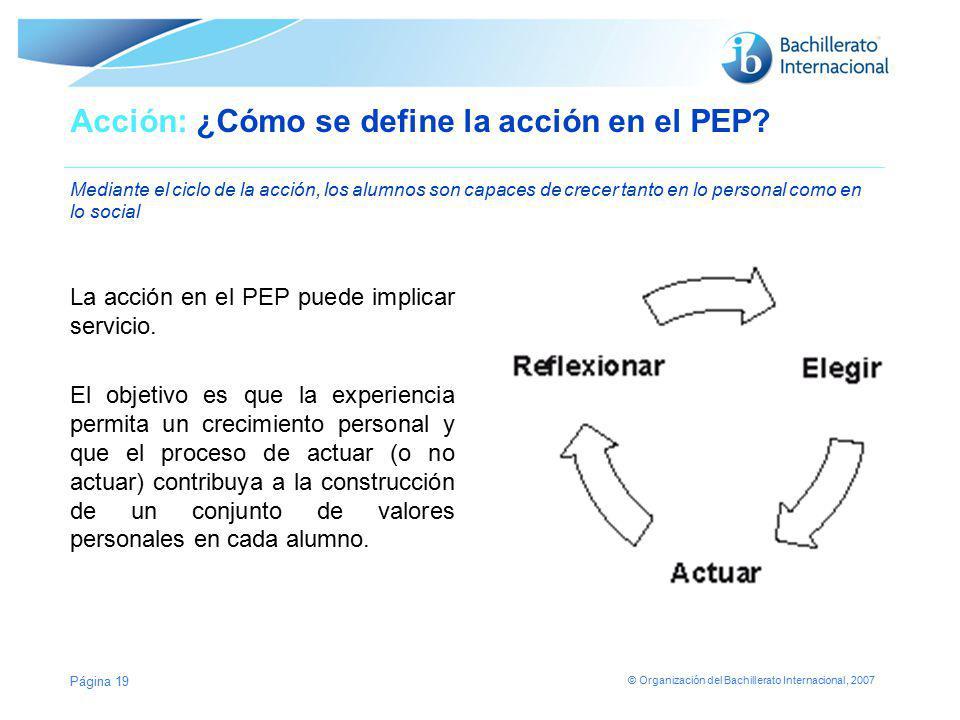 Acción: ¿Cómo se define la acción en el PEP