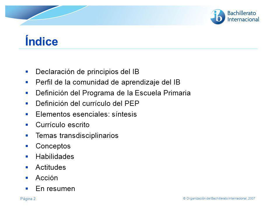 Índice Declaración de principios del IB