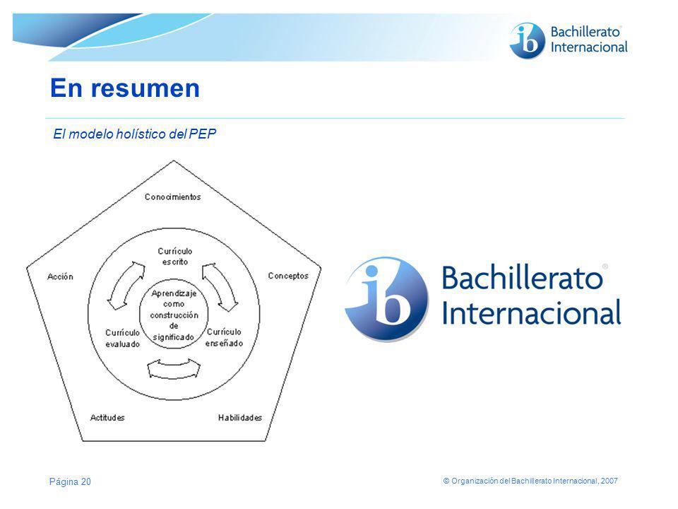 En resumen El modelo holístico del PEP