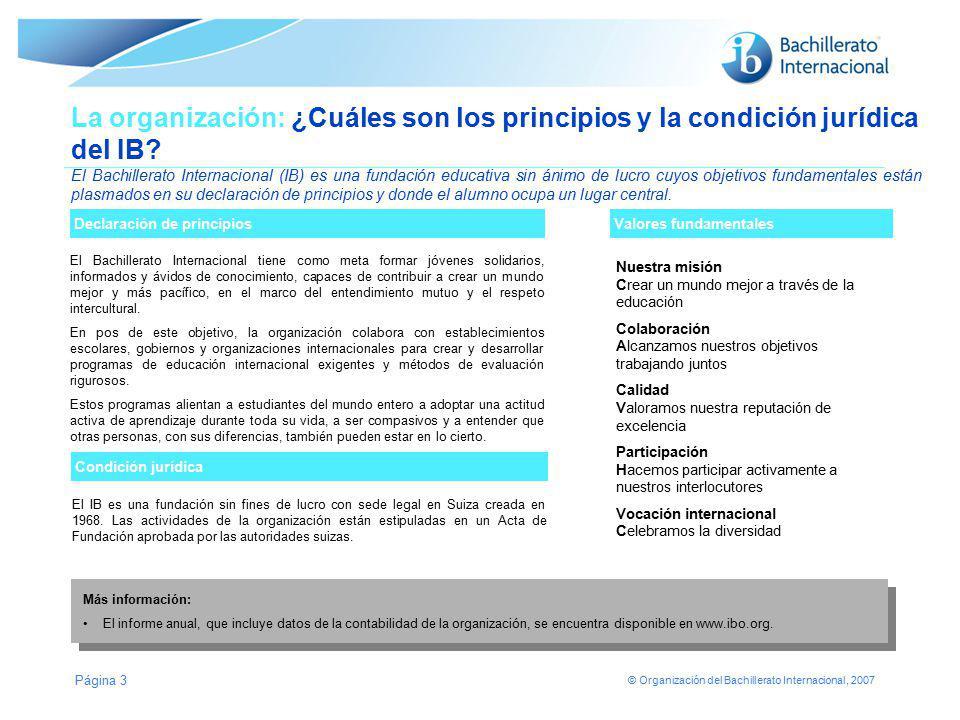 La organización: ¿Cuáles son los principios y la condición jurídica del IB