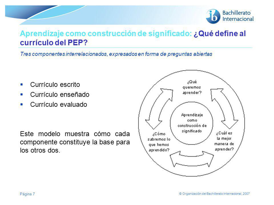 Aprendizaje como construcción de significado: ¿Qué define al currículo del PEP Tres componentes interrelacionados, expresados en forma de preguntas abiertas
