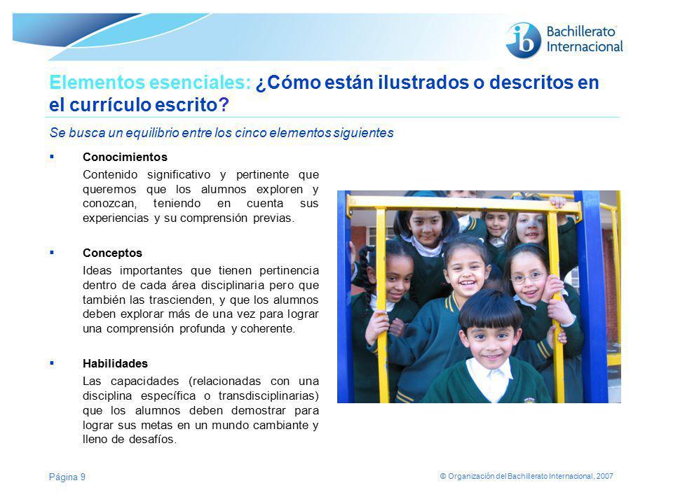 Elementos esenciales: ¿Cómo están ilustrados o descritos en el currículo escrito Se busca un equilibrio entre los cinco elementos siguientes