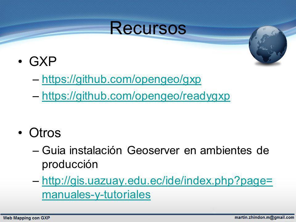 Recursos GXP Otros https://github.com/opengeo/gxp