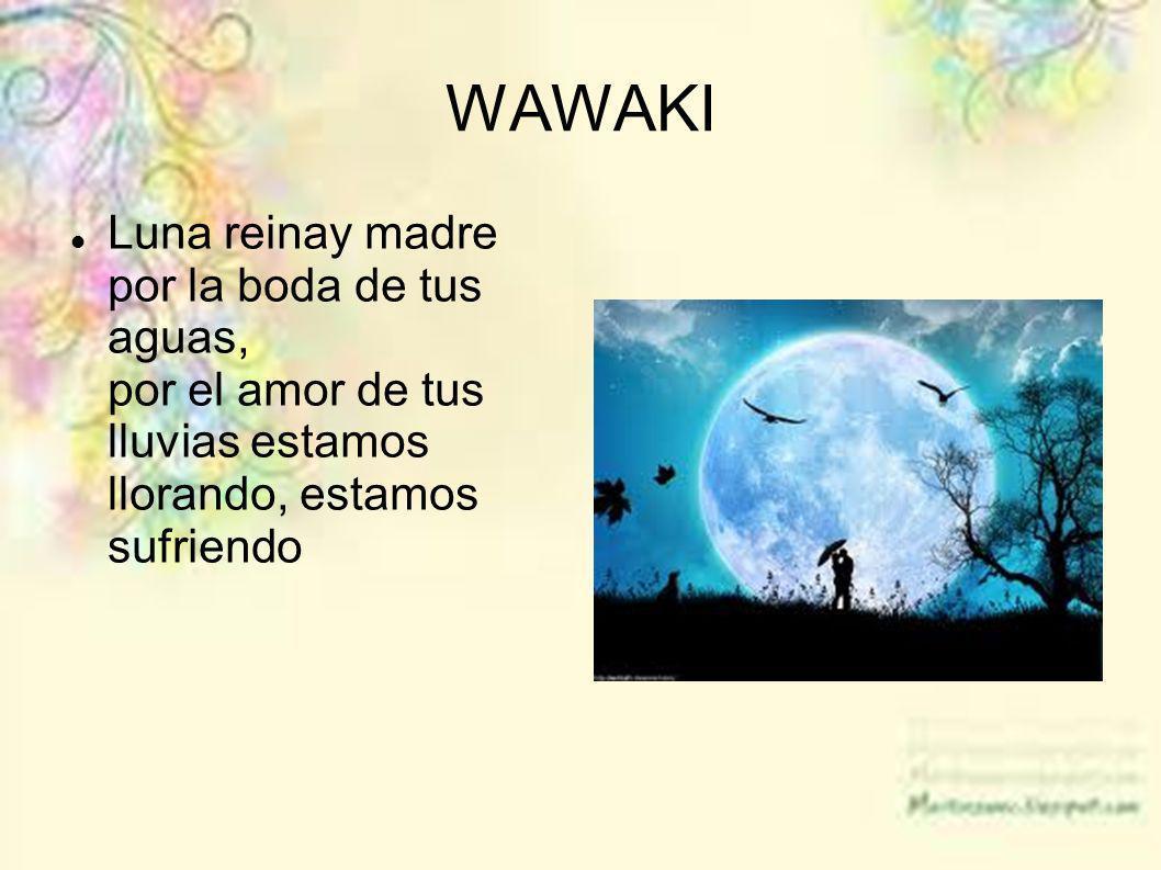 WAWAKI Luna reinay madre por la boda de tus aguas, por el amor de tus lluvias estamos llorando, estamos sufriendo.