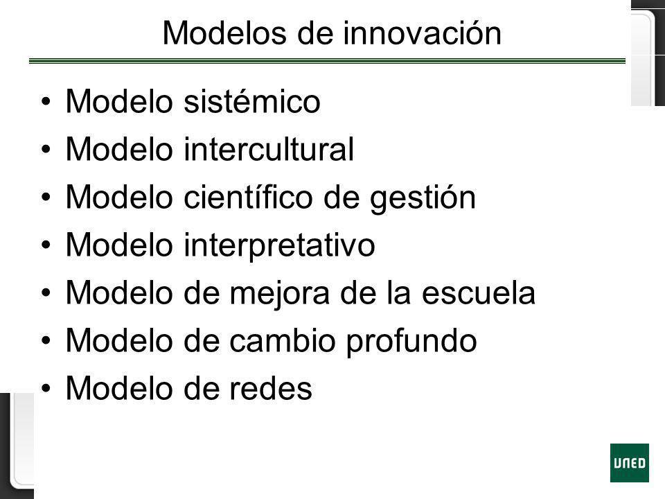 Modelos de innovación Modelo sistémico. Modelo intercultural. Modelo científico de gestión. Modelo interpretativo.