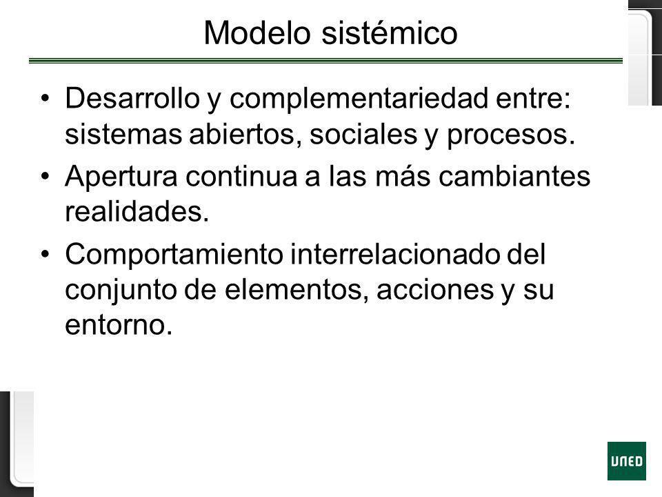 Modelo sistémico Desarrollo y complementariedad entre: sistemas abiertos, sociales y procesos. Apertura continua a las más cambiantes realidades.