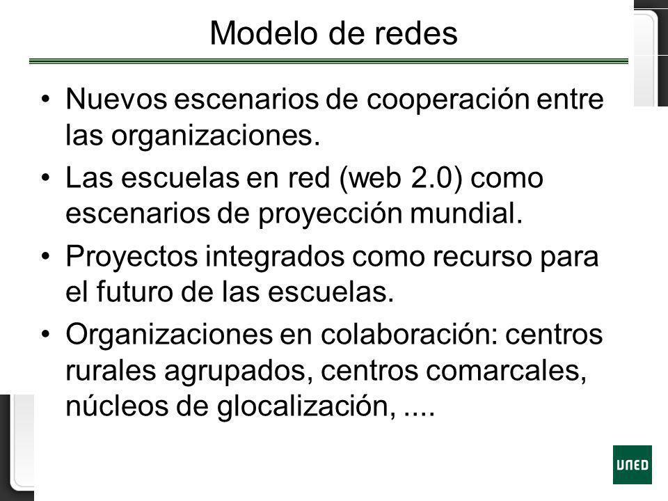 Modelo de redes Nuevos escenarios de cooperación entre las organizaciones. Las escuelas en red (web 2.0) como escenarios de proyección mundial.