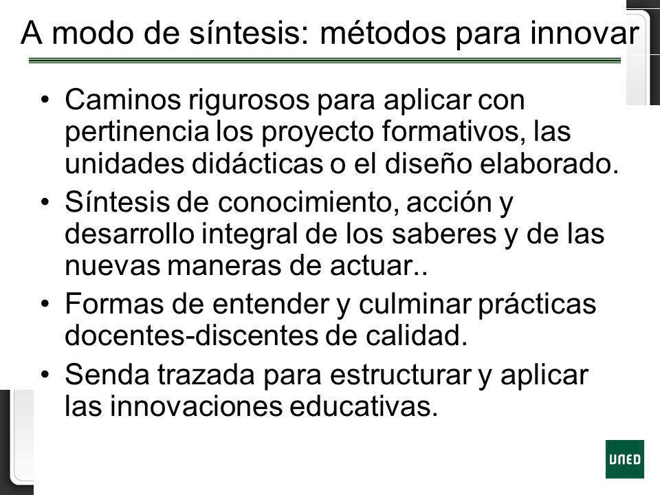 A modo de síntesis: métodos para innovar
