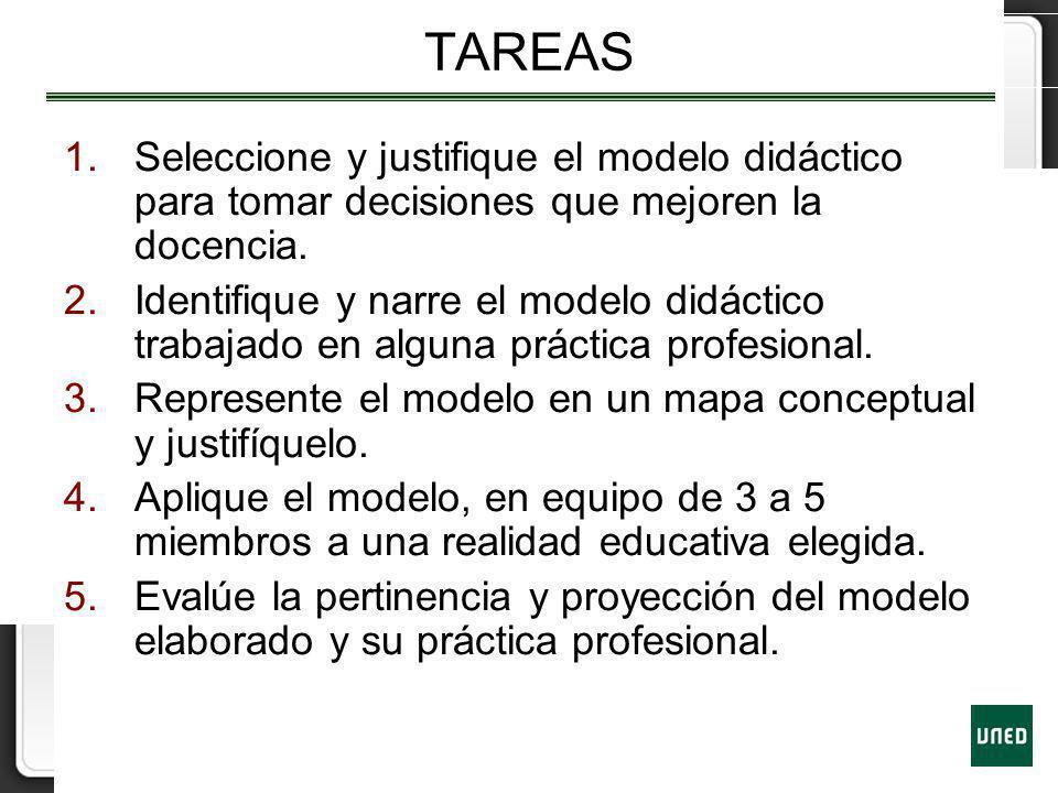 TAREAS Seleccione y justifique el modelo didáctico para tomar decisiones que mejoren la docencia.
