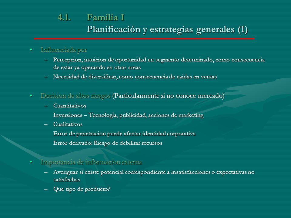 4.1. Familia I Planificación y estrategias generales (1)