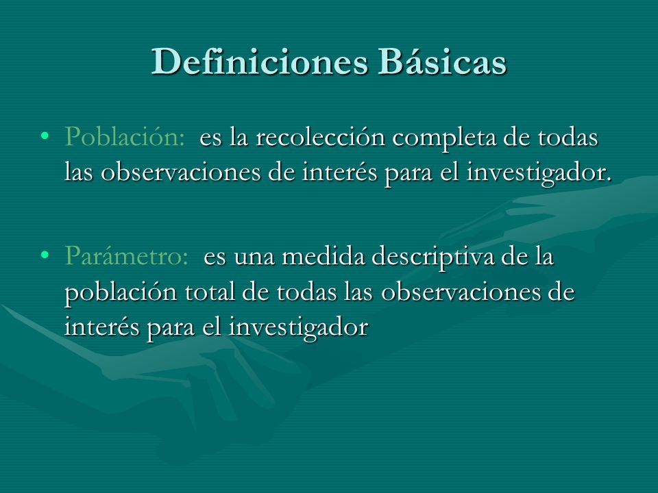 Definiciones Básicas Población: es la recolección completa de todas las observaciones de interés para el investigador.