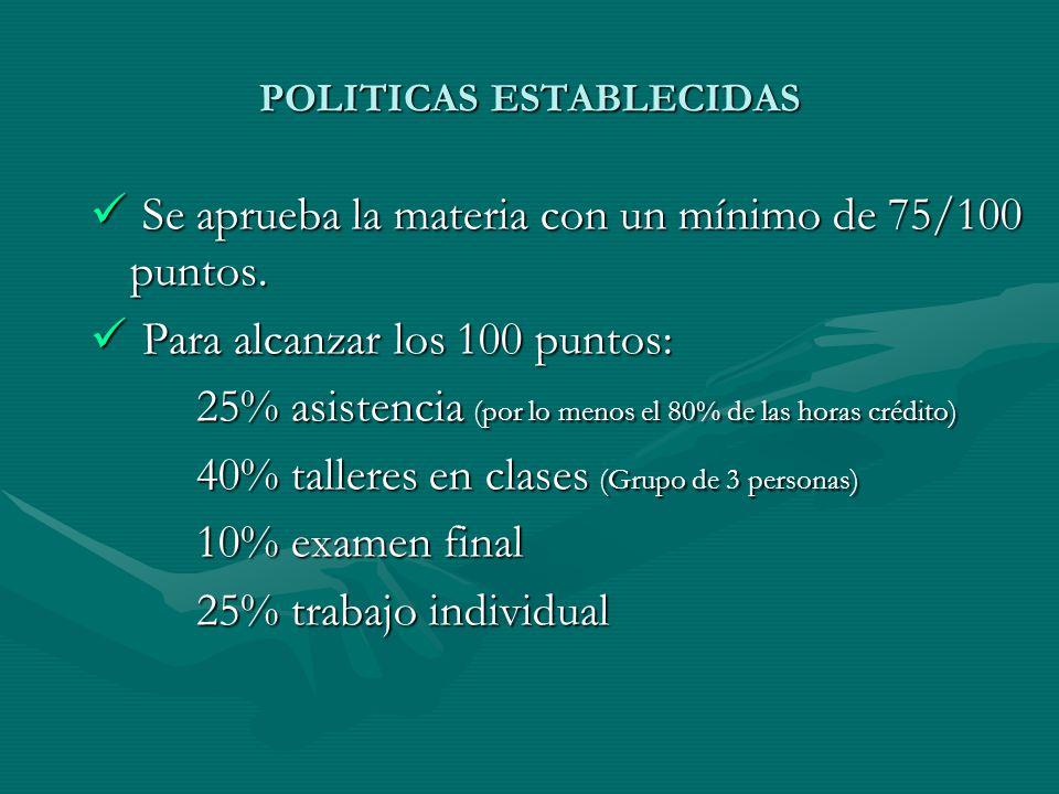 POLITICAS ESTABLECIDAS
