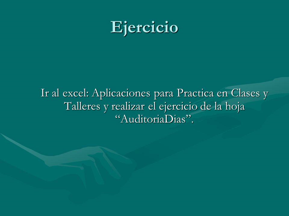Ejercicio Ir al excel: Aplicaciones para Practica en Clases y Talleres y realizar el ejercicio de la hoja AuditoriaDias .