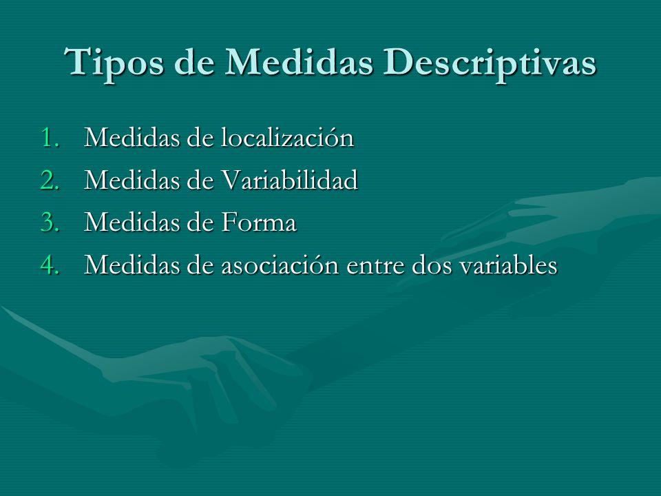 Tipos de Medidas Descriptivas