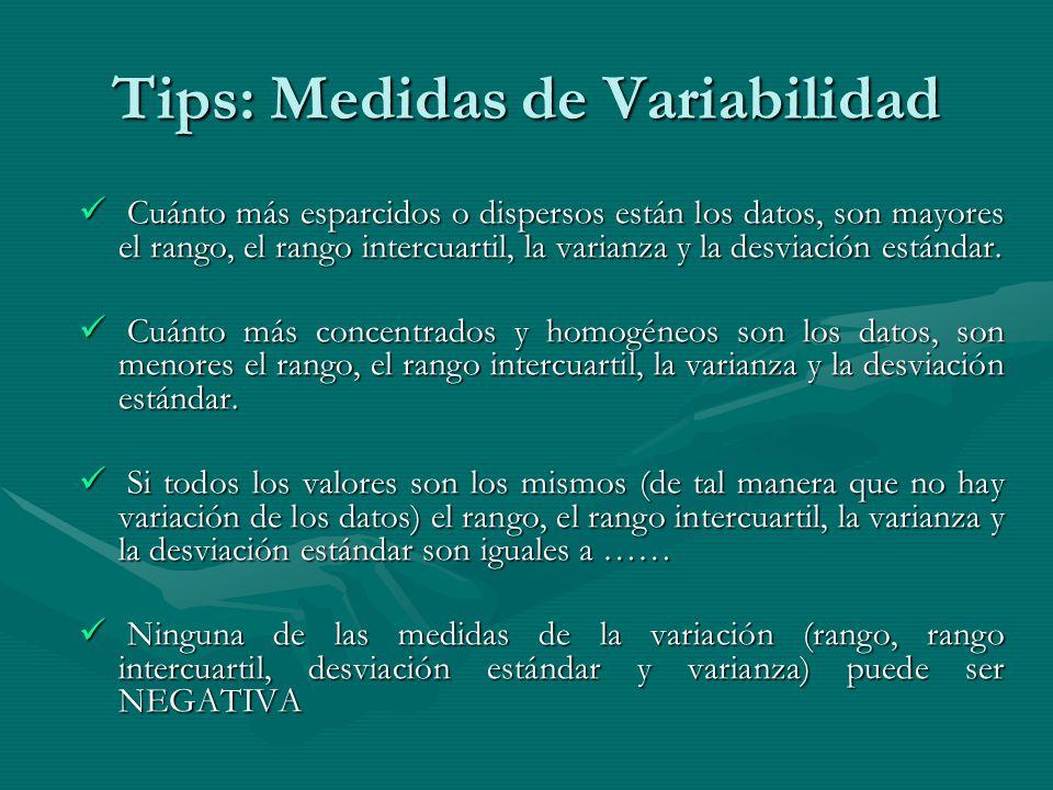 Tips: Medidas de Variabilidad