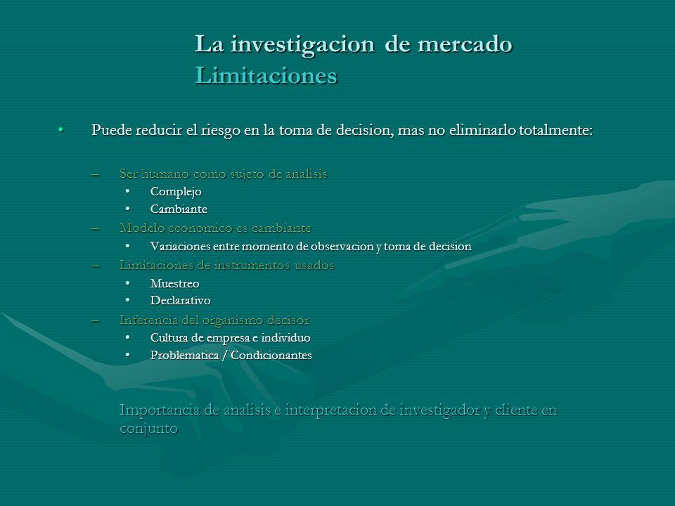 La investigacion de mercado Limitaciones