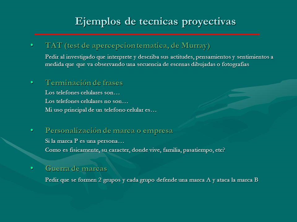 Ejemplos de tecnicas proyectivas