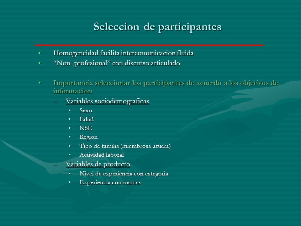 Seleccion de participantes